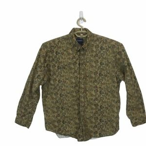 Vintage  Leaf Long Sleeve Collared Button Down L